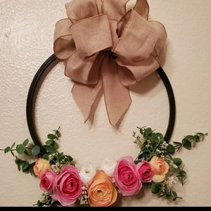 Embroidery hoop floral wreath